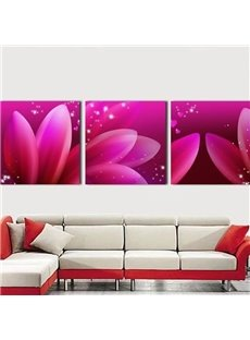 New Arrival Dreamy Pink Flower Petals Print 3-piece Cross Film Wall Art Prints