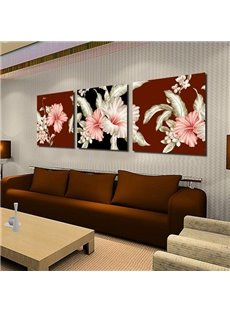 Luxurious Pink and Beige Lily Flowers Print 3-piece Cross Large Canvas Prints