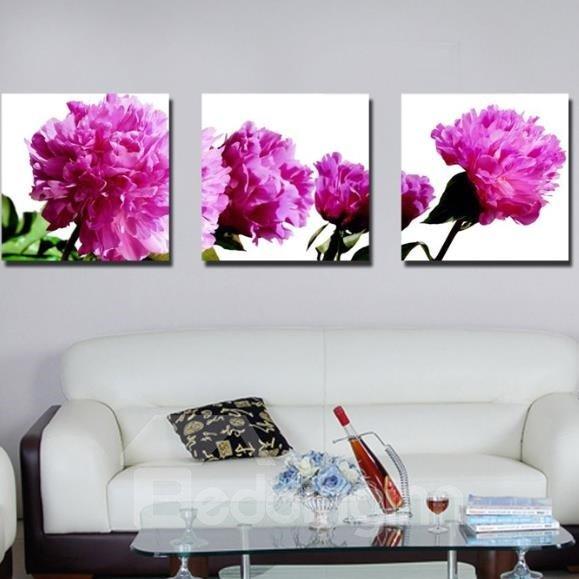 New Arrival Romantic Purple Flowers Print 3-piece Cross Film Wall Art Prints