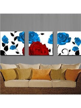 New Arrival Beautiful Blue and Red Roses Print 3-piece Cross Film Wall Art Prints