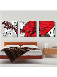 New Arrival Lovely Painting of Red Flower and Stamen Print 3-piece Cross Film Wall Art Prints