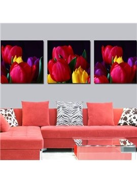 New Arrival Beautiful Lifelike Tulips Print 3-piece Cross Film Wall Art Prints