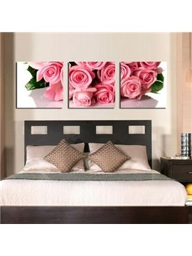 New Arrival Beautiful Pink Roses Bouquet Print 3-piece Cross Film Wall Art Prints