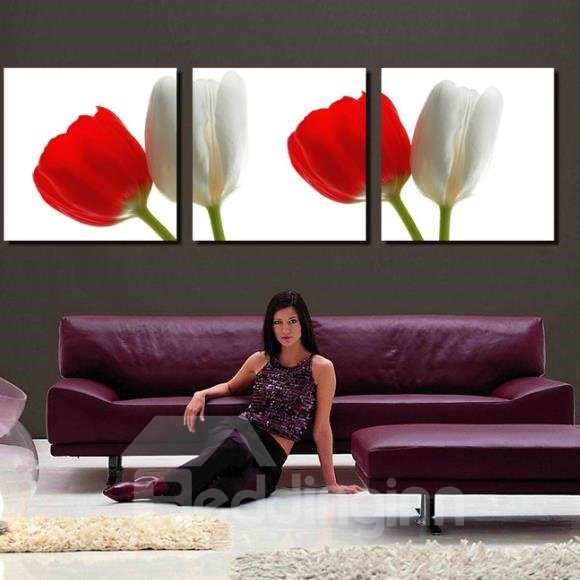 New Arrival Elegant Red and White Tulips Print 3-piece Cross Film Wall Art Prints