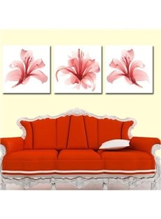 New Arrival Beautiful Pink Flowers Print 3-piece Cross Film Wall Art Prints