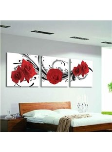 16×16in×3 Panels Red Roses Hanging Canvas Waterproof and Eco-friendly Framed Prints