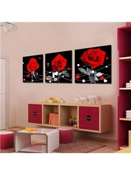 New Arrival Elegant Red Roses Print 3-piece Cross Film Wall Art Prints