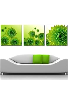 16×16in×3 Panels Green Chrysanthemum Flowers Hanging Canvas Waterproof Eco-friendly Framed Prints