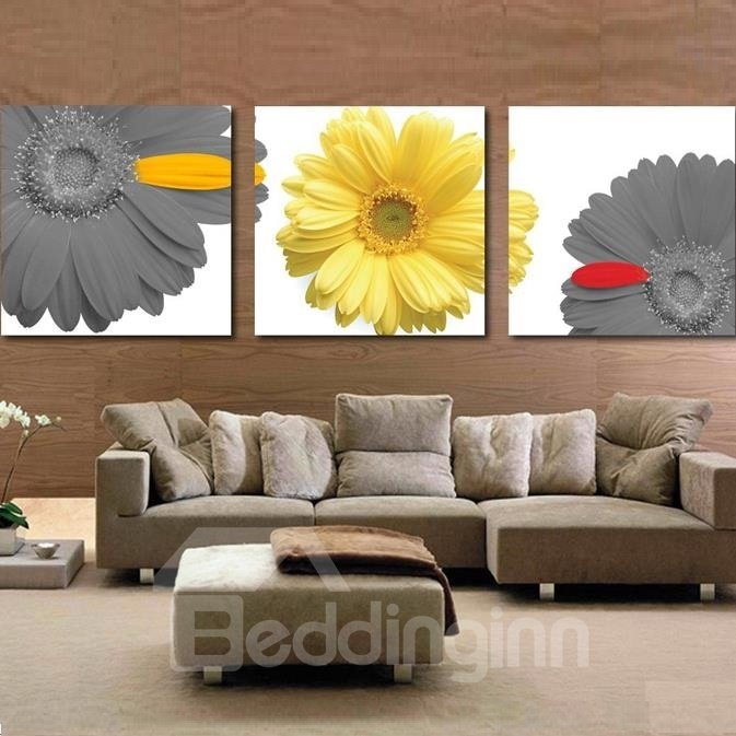 New Arrival Elegant Daisy Flowers Print 3-piece Cross Film Wall Art Prints