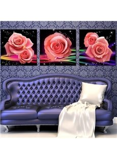 New Arrival Lovely Shiny Pink Roses Print 3-piece Cross Film Wall Art Prints