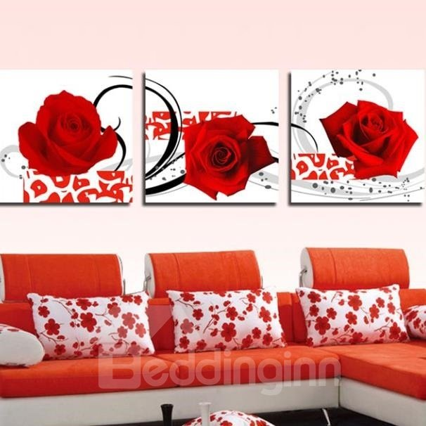 New Arrival Romantic Red Roses Print 3-piece Cross Film Wall Art Prints