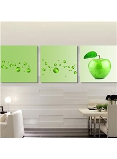 New Arrival Cute Green Apples Print 3-piece Cross Film Wall Art Prints