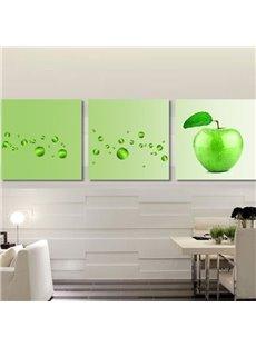 New Arrival Cute Green Apples Print 3-piece Cross Film Wall Art Prints