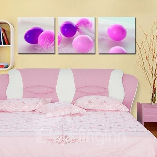 New Arrival Beautiful Purple Eggs and Feather Print 3-piece Cross Film Wall Art Prints