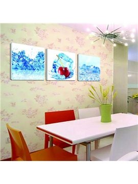 New Arrival Lovely Cherry in Ice Print 3-piece Cross Film Wall Art Prints