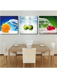 New Arrival Lovely Fruits in Water Print 3-piece Cross Film Wall Art Prints