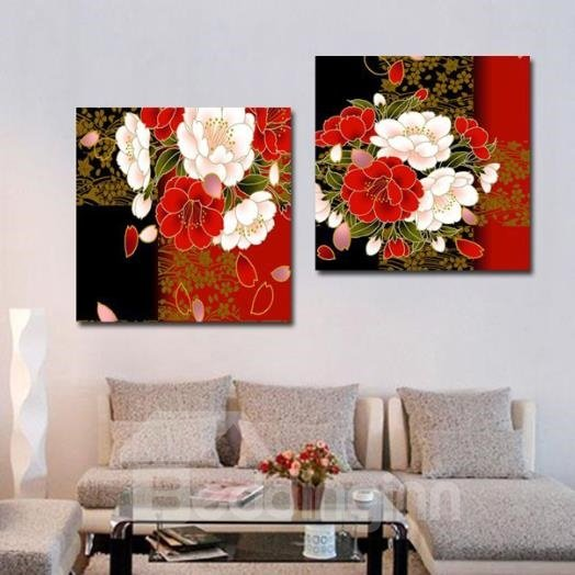 New Arrival Luxurious Flowers Print 2-piece Cross Film Wall Art Prints