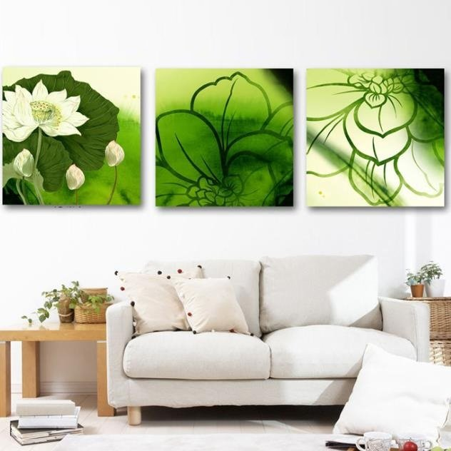 New Arrival Elegant Green Lotus Flowers Print 3-piece Cross Film Wall Art Prints