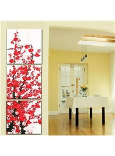 New Arrival Beautiful Red Plum Blossoms Print 3-piece Cross Film Framed Artwork Prints