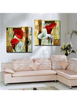 New Arrival Beautiful Red and White Calla Flowers Print 2-piece Cross Film Wall Art Prints