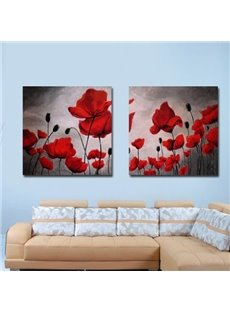 New Arrival Beautiful Red Flowers and Buds Print 2-piece Cross Film Wall Art Prints