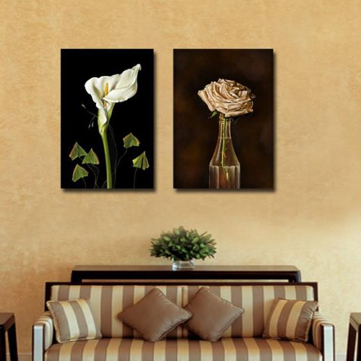 New Arrival Beautiful White Calla and Beige Rose Print 2-piece Cross Film Wall Art Prints