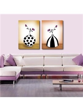 Lovely Pink Flowers in Black and White Vase Print 2-piece Cross Film Wall Art Prints