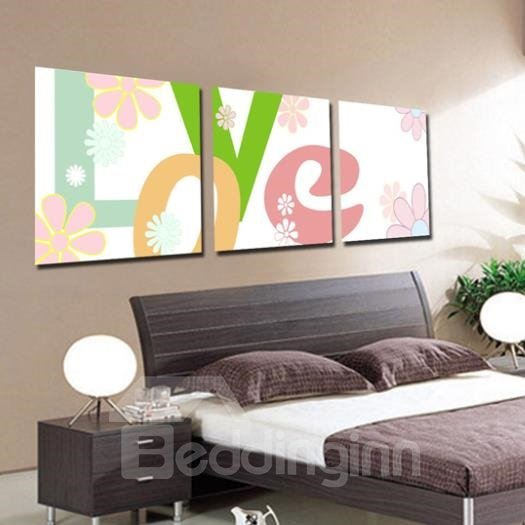 New Arrival Lovely Flowers and Letters Print 3-piece Cross Film Wall Art Prints