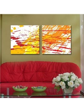 New Arrival Lovely Yellow and Orange Patterns Print 2-piece Cross Film Wall Art Prints