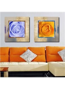 New Arrival Beautiful Roses Beige Borders Print 2-piece Cross Film Wall Art Prints