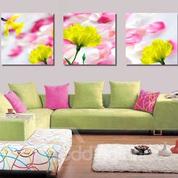 New Arrival Beautiful Yellow Flowers Pink Petals Print 3-piece Cross Film Wall Art Prints