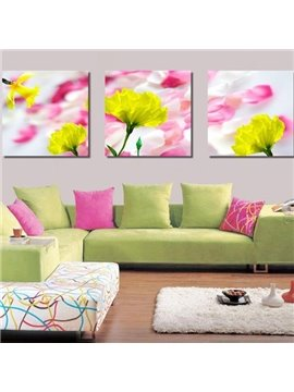 New Arrival Beautiful Yellow Flowers Pink Petals Print 3-piece Cross Film Wall Art Prints