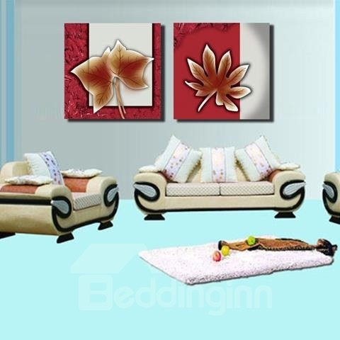 New Arrival Elegant Maple Leaves Print 2-piece Cross Film Wall Art Prints