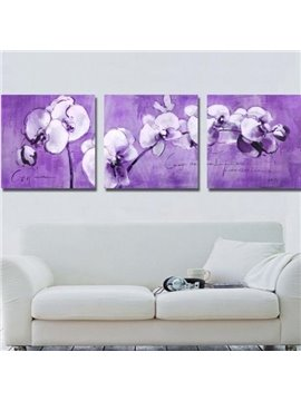 New Arrival Romantic Purple Flowers and Letters Print 3-piece Cross Film Wall Art Prints
