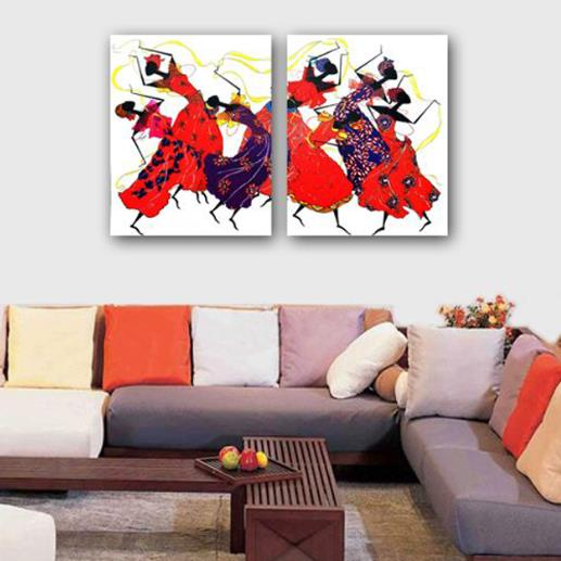 16×24in×2 Panels Dancers in Red Hanging Canvas Waterproof and Eco-friendly Framed Prints
