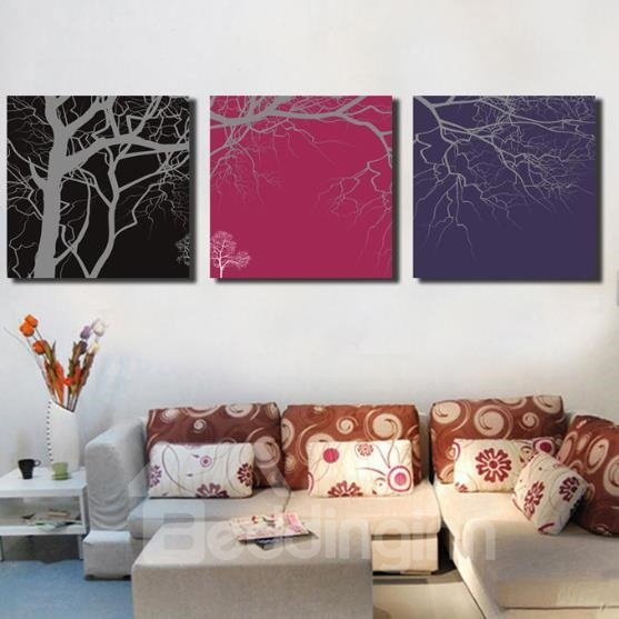 New Arrival Elegant Trees and Branches Print 3-piece Cross Film Wall Art Prints