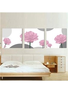 New Arrival Elegant Pink Roses Print 3-piece Cross Film Wall Art Prints