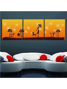 New Arrival Lovely Lady and Trees Print 3-piece Cross Film Wall Art Prints
