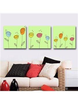 New Arrival Lovely Cartoon Flowers Print 3-piece Cross Film Wall Art Prints