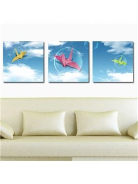 New Arrival Lovely Paper Cranes and Blue Sky Print 3-piece Cross Film Wall Art Prints