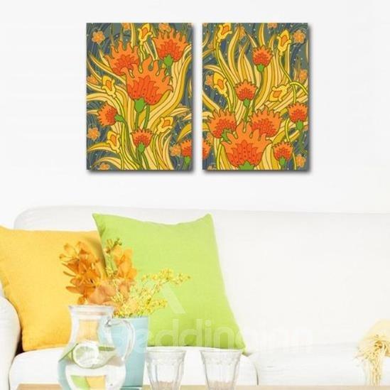 New Arrival Beautiful Orange Flowers Painting Print 2-piece Cross Film Wall Art Prints