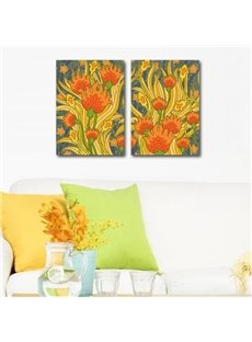 New Arrival Beautiful Orange Flowers Painting Print 2-piece Cross Film Wall Art Prints