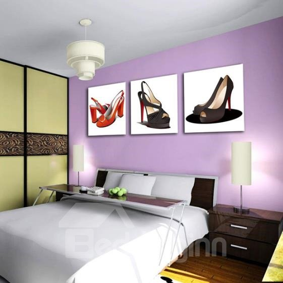 New Arrival Elegant High Heel Shoes Print 3-piece Cross Film Wall Art Prints