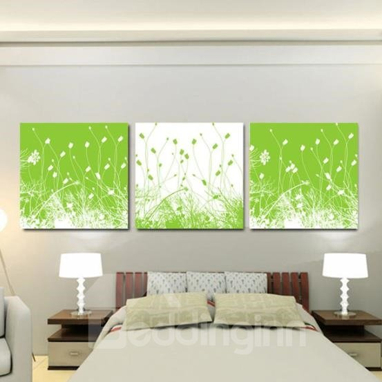 New Arrival Lovely Green Grass Print 3-piece Cross Film Wall Art Prints