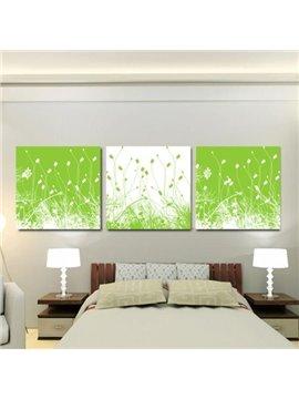 New Arrival Lovely Green Grass Print 3-piece Cross Film Wall Art Prints