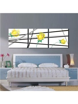 New Arrival Lovely Yellow Roses and Stripes Print 3-piece Cross Film Wall Art Prints