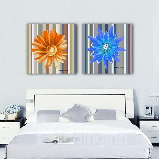 New Arrival Beautiful Flowers and Colorful Stripes Print 2-piece Cross Film Wall Art Prints