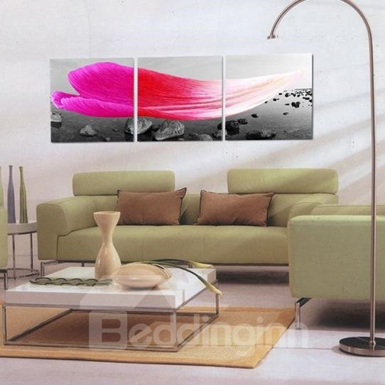 New Arrival Beautiful Pink Flower Petal Print 3-piece Cross Film Wall Art Prints
