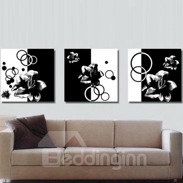 New Arrival Elegant Black and White Flowers Print 3-piece Cross Film Wall Art Prints