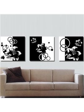 New Arrival Elegant Black and White Flowers Print 3-piece Cross Film Wall Art Prints